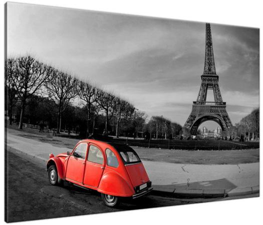 Obraz Czerwone auto przy Wieży Eiffla 1117A_1B